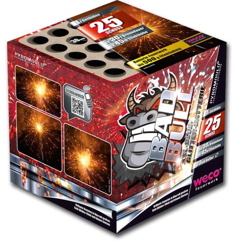 Bad Bull 25-Schuss-XXL-Blue-Glitter-Feuerwerk-Batterie