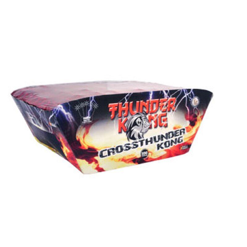 Crossthunder Kong 100-Schuss-F�cherbatterie (Stahlk�fig) Mit extrem lautem Blitzknall. Gr�ne Feuert�pfe mit gr�nen Sternen, roten Feuert�pfen und Crackling. Im Stahlk�fig!