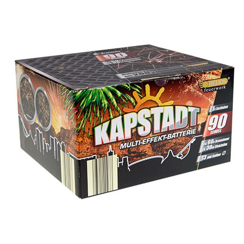 Kapstadt 90-Schuss-Feuerwerk-Batterie Hochsteigende Bombetten mit Multi-Colour-Stern-Buketts, schrille Silber-Pfeifen und fetzige Crackling-Wolken in rasanter Schussfolge.