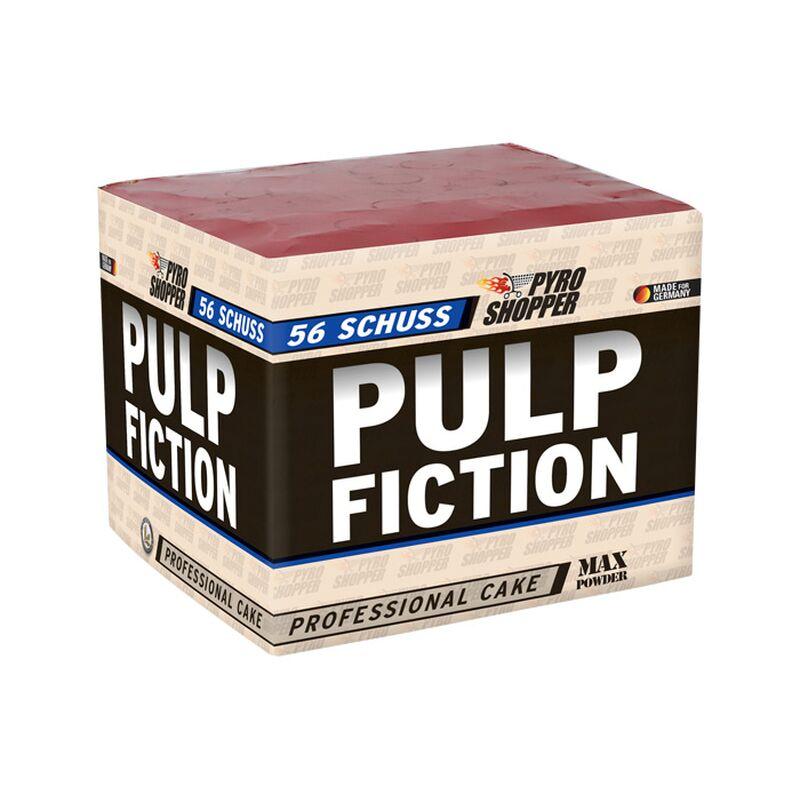 Pulp Fiction 56-Schuss-Feuerwerk-Batterie Rotes Bukett und wei�e Blinker mit rotem Aufstieg, violette und gr�ne Sterne mit gr�nem Aufstieg, blaue Sterne und goldenes Bukett mit silbernem Aufstieg, Crackling mit goldenem Aufstieg als Finale.