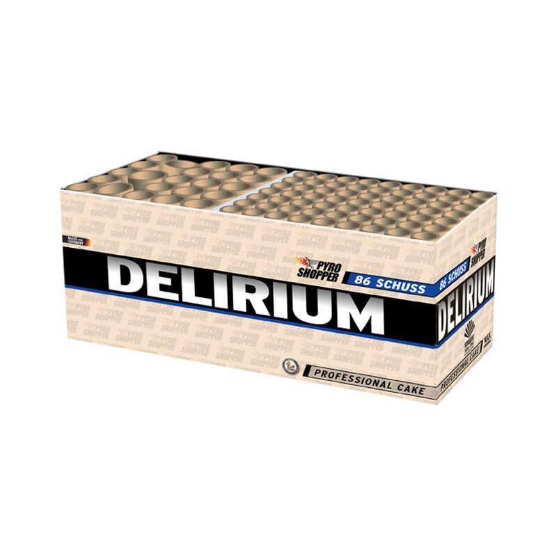 Delirium 86-Schuss-Feuerwerk-Batterie Feuerwerkdisplay mit einer Vielzahl an Effekten! 86 Schuss in 2 verschiedenen Kalibern und eingebautem Fächer.