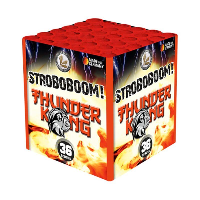 Stroboboom! 36-Schuss-Feuerwerk-Batterie 3er Pack (Stahlkäfig) Mit sehr speziellen roten Strobos und lautem Titanium Blitzknall. Der König der Salutcakes! Im Stahlkäfig!