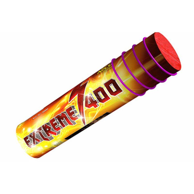 Extreme 400-Schuss-Römische-Lichterbatterie Rasante Römische Lichterbatterie mit 400 roten und grünen Leuchtsternen.