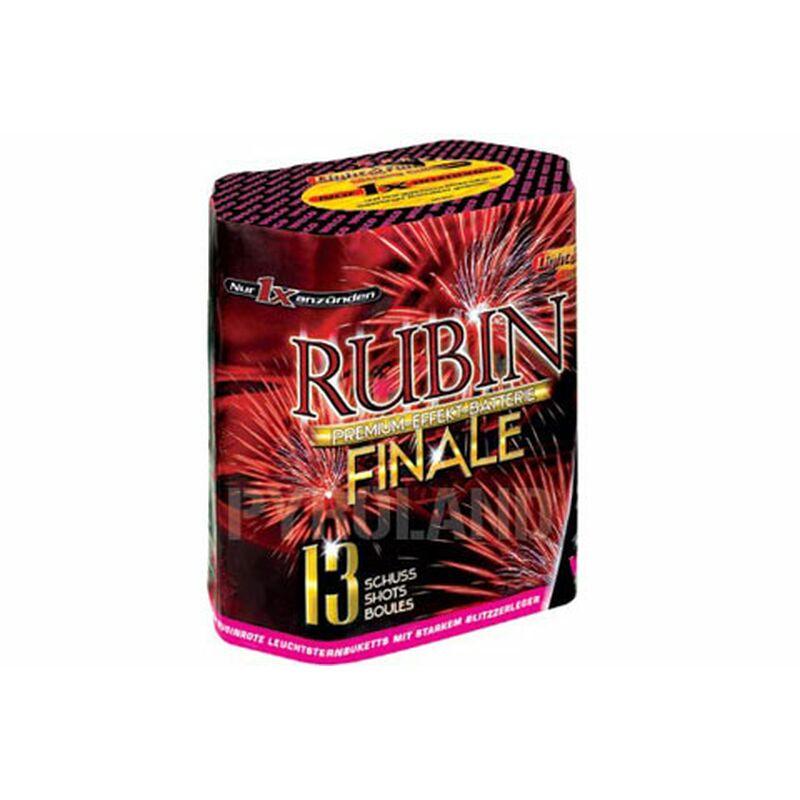 Rubin Finale 13-Schuss-Feuerwerk-Batterie Mit großkalibrigen Abschüssen und herrlich großem Bukett mit rubinroten Sternen - immer mit kräftigem Knall.
