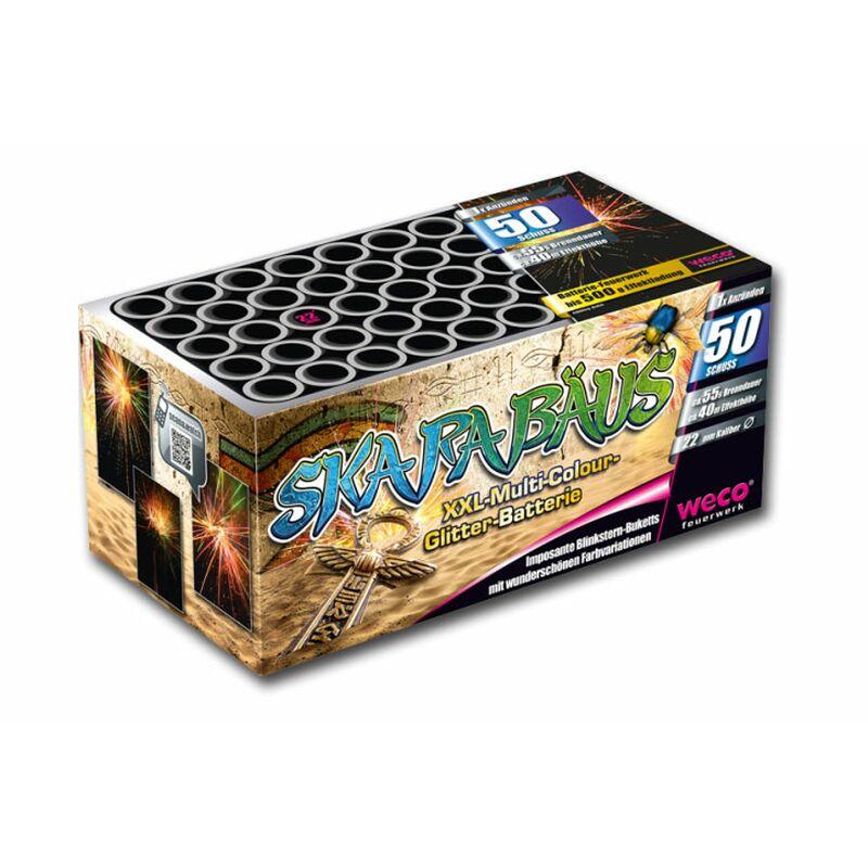 Skarabäus 50-Schuss-Feuerwerk-Batterie Imposant große Blinkstern-Buketts mit wunderschönen Farbvariationen finalisierend mit einer rasanten Salve.