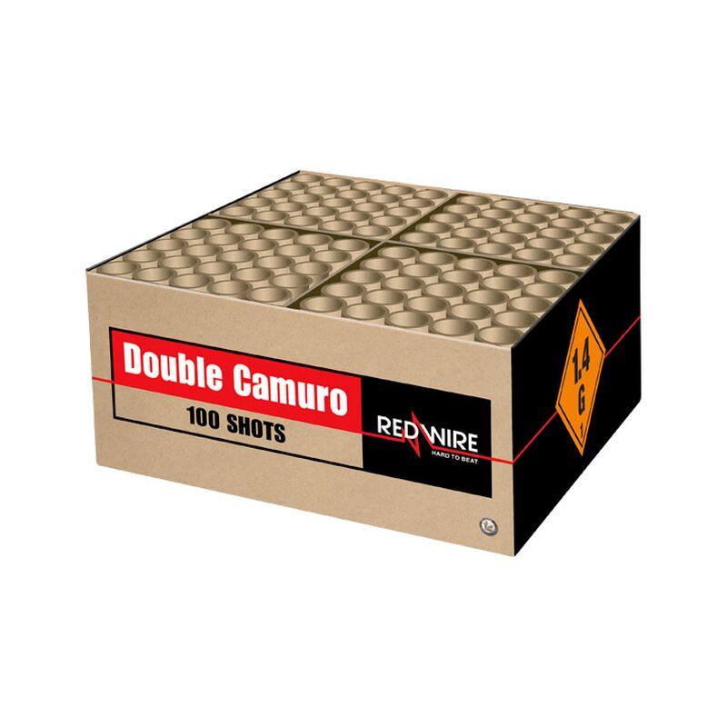 Double Camuro 100-Schuss-Blitzknall-Feuerwerkverbund (Stahlkäfig) Doppel-Gold Showbox, 100 Schüsse von 30mm mit fast 2 Kilo Explosivmasse!