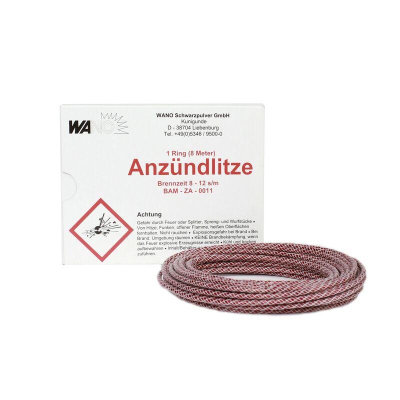 Anzündlitze rot, 8-12s/m, 8m Rolle 8m Rolle. Brennzeit von ca. 8-12s pro Meter.