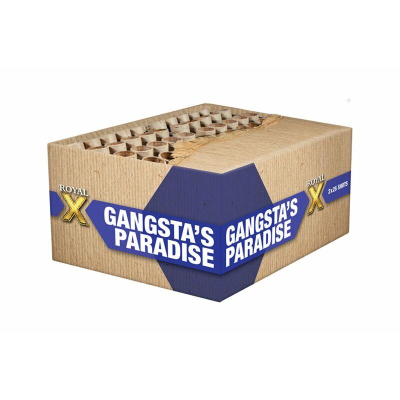 Gangsta's Paradise 50-Schuss-Feuerwerk-Batterie (Stahlkäfig) Doppel-Gold Fächer-Box mit 50 Schuss! Maximales 30mm Kaliber. Im Stahlkäfig!