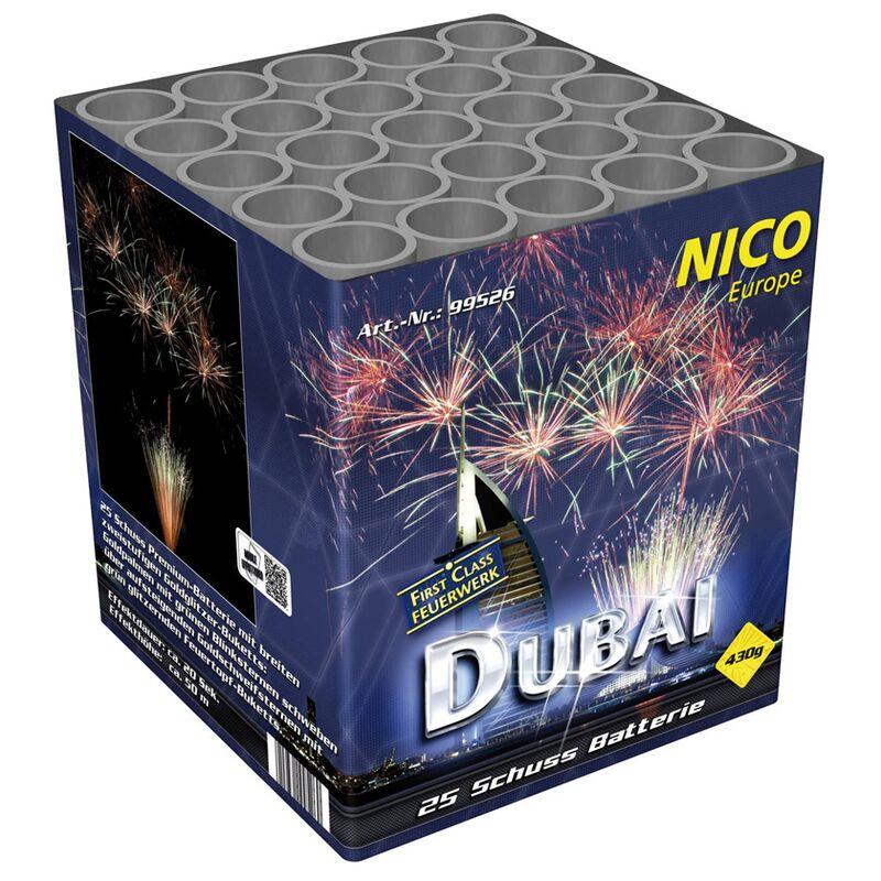 Dubai 25-Schuss-Feuerwerk-Batterie Premium Batterie mit breitem zweifstufigem Gold-Glitzer-Buketts, Goldpalmen mit grünen Blinksternen schweben über aufsteigenden Goldschweifsternen mit Grün-Glitzer Feuertopf-Buketts.