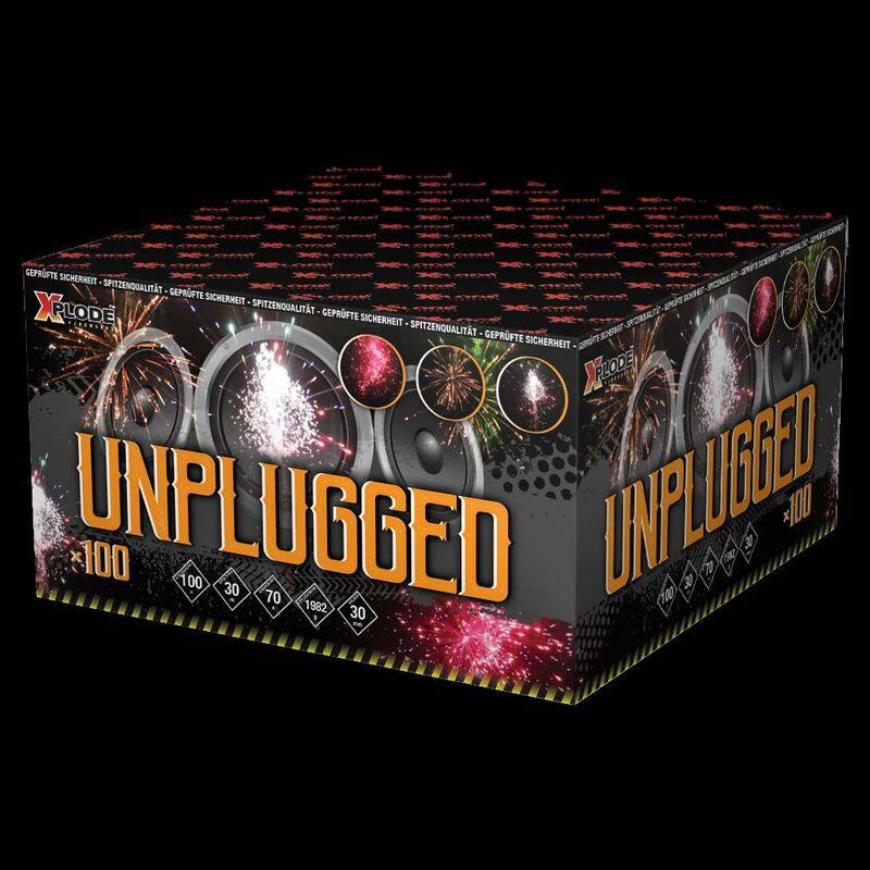 Unplugged 100-Schuss-Feuerwerkverbund Silberwirbel zu buntem Bukett, gelbe Päonie mit weissem Blinksternen, gelbe und blaue Feuertöpfe zu blauem und rotem Bukett, Crackling-Feuertopf zu Crackling Willow.