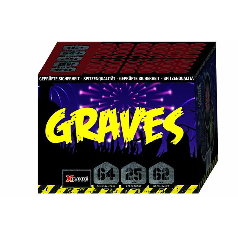 Graves 64-Schuss-Feuerwerk-Batterie Verschieden farbiger Aufstieg zu bunt-goldenen Buketts mit farbenfrohen Blinksternen.