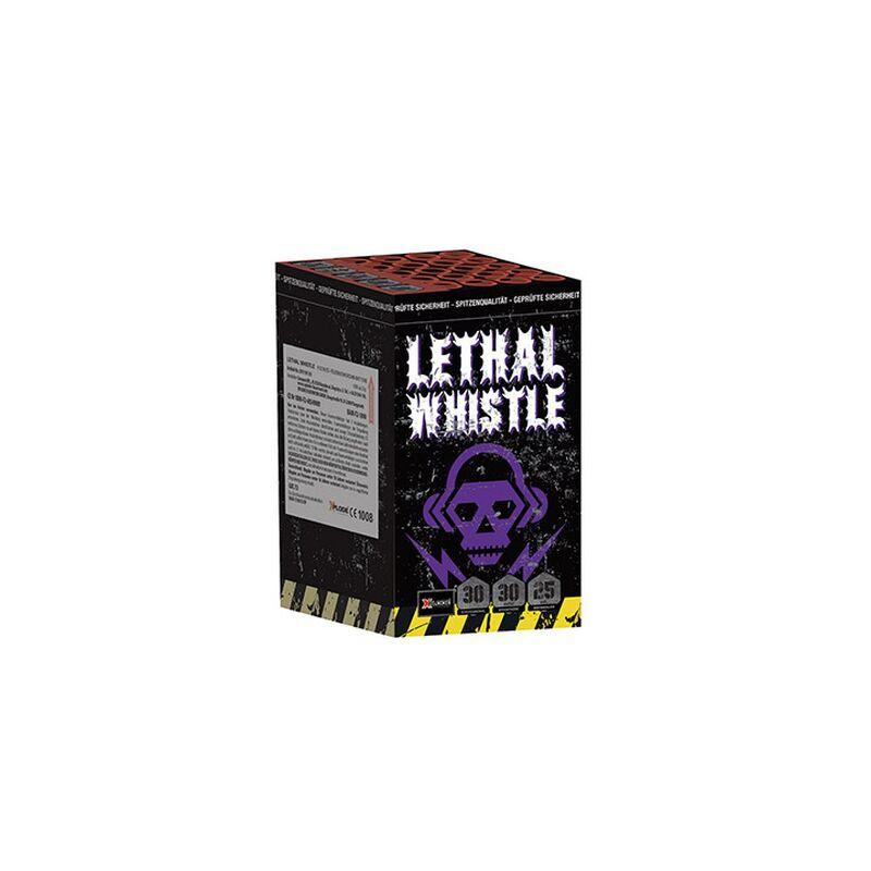 Lethal Whistle 25-Schuss-Feuerwerk-Batterie Einzigartige gro�e Silberpfeiffer zu bunten Buketts.