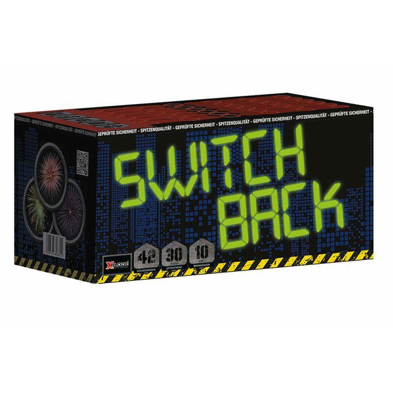 Switchback 42-Schuss-Feuerwerk-Batterie Blaue Feuertöpfe zu Crysanthemen-Buketts.