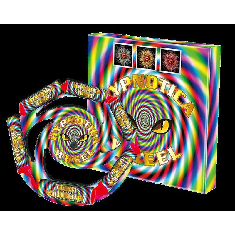 Hypnotica Wheel Große Sonne mit weißen, roten und gelben Effekten.