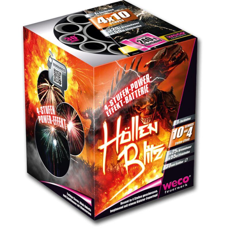 H�llenblitz 10-Schuss-Feuerwerk-Batterie Beginnend mit einem Knister-Feuertopf, farbigen Sternen, Blink-Buketts und Goldflimmer mit Blinksternen. Immer rasant in 4 Stufen geschossen.