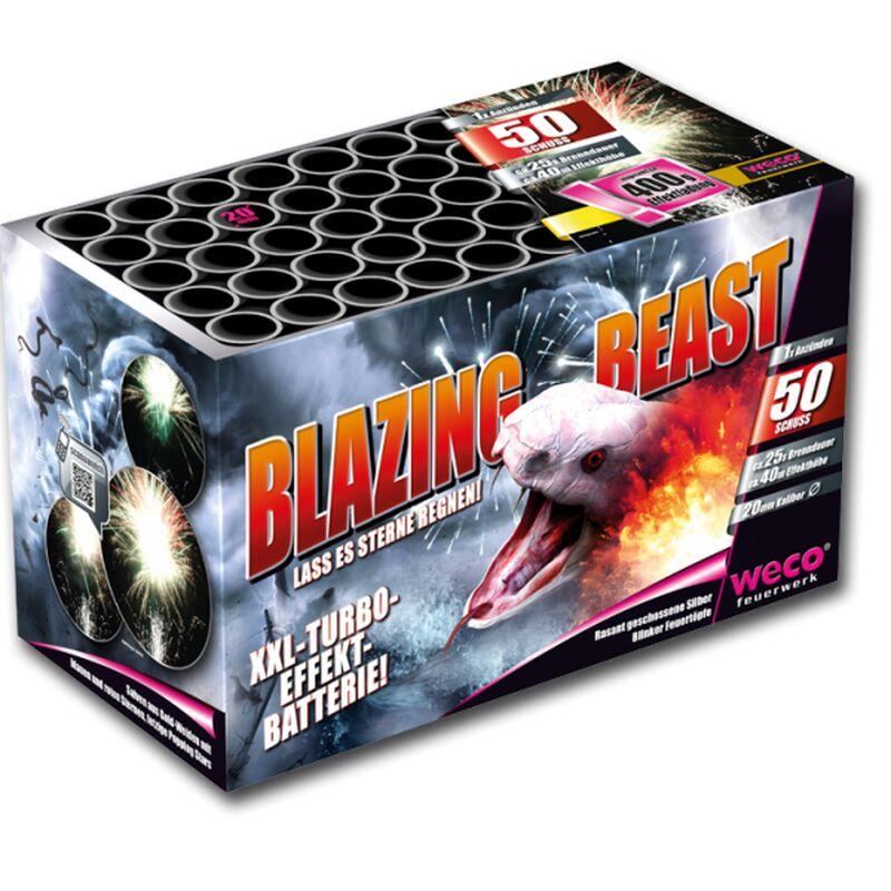 Blazing Beast 50-Schuss-Feuerwerk-Batterie Rasant geschossene Silber-Blinker-Feuertöpfe, gefolgt von Salven aus Gold-Weiden mit blauen und roten Sternen, sowie fetzigen Popping Stars, immer im Wechsel geschossen.