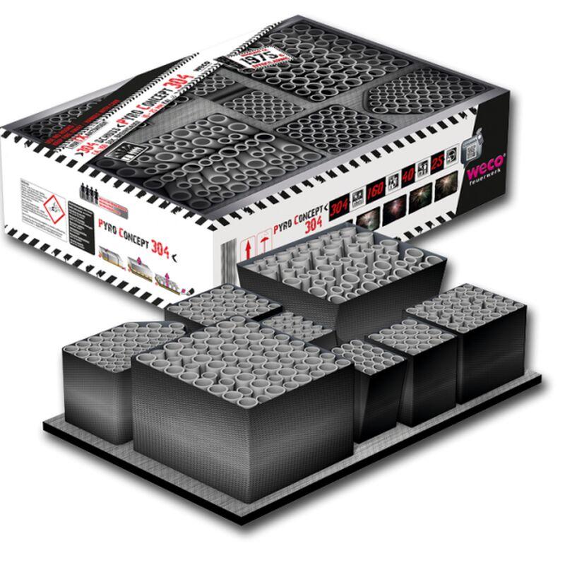 Pyro Concept 304 - Feuerwerkverbund mit 304 Schuss Fertig verleitet - in der praktischen Box